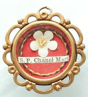 Antique First Class Reliquary Locket Saint Peter Chanel Martyr