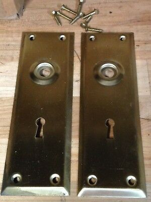2 Antique Vintage (Nos) Door Knob Lock Key Hole Plate Parts
