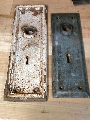 2 Antique Vintage  Door Knob Lock Key Hole Plate Parts
