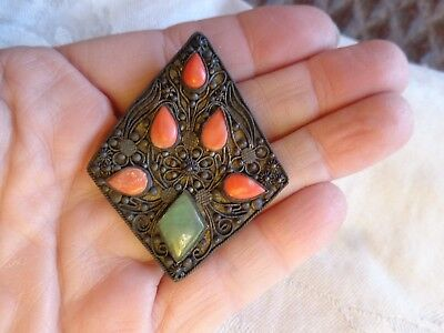 Antique Chinese Export Cannetille Silver Filigree Jade Coral Dress Clip Pin