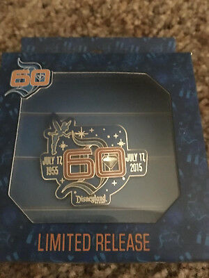 Disneyland 60th Anniversary logo trading pin 07-17-2015 Limited WITH Tinker Bell