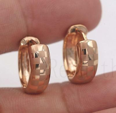 18K Gold Filled - Classic Laser Carving Square Hoop Party Lady Jewelry Earrings