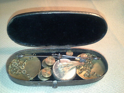 Antique California Gold Rush Miners Mini Pocket Scale, 2 Sets Weights, Super