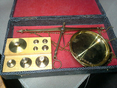 Hammel Riglander Gold Rush Miners Pocket Scale, Brass Weights, Mint Condition