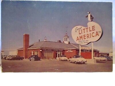 """1954 Adv Postcard """" Covey's Little America Wyoming """" Truck Stop Sign, Cars Bio"""
