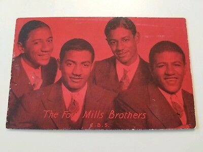 THE FOUR MILLS BROTHERS old ARCADE CARD CBS Black AMERICANA from Piqua OH OHIO
