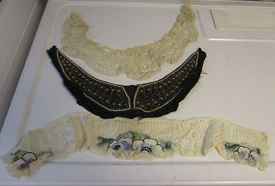 Three Vintage Antique Dress Collars, Lace, Beaded, Embroidered