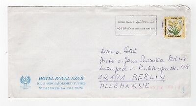 1997 TUNISIA Air Mail Cover HAMMAMET to BERLIN GERMANY Hotel Royal Azur