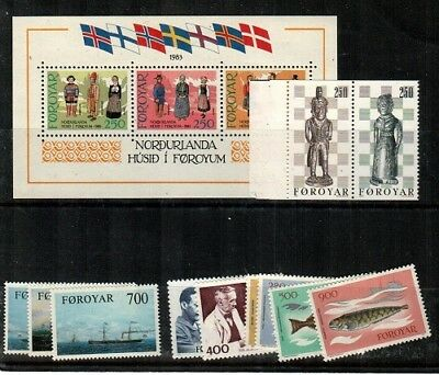 Faroe Islands Scott 90-101 Mint NH (1983 Year Set) - Catalog Value $28.30
