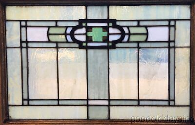 "1 of 12 Antique Arts & Crafts Stained Leaded Glass Transom Window 32"" by 23"""