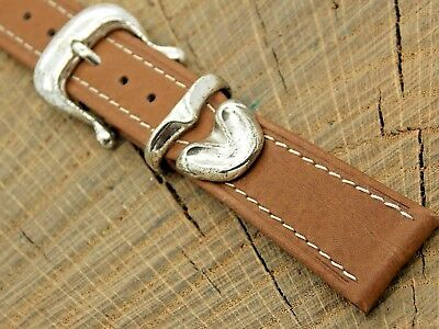 NOS Unused Brown Leather Vintage Watch Band 18mm Sterling Silver Buckle & Trim