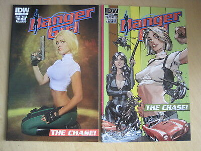"""DANGER GIRL, """"The CHASE"""" : set of both issue 1 covers, incl PHOTO cvr. IDW. 2013"""