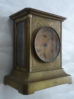 Antique Brass Glass Musical Carriage Alarm Clock. Spares Or Repair