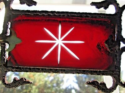 Old Fancy Cast Iron Ruby Design Glass Tail Lightning Rod Ball Weathervane Arrow