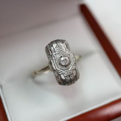 historischer Art Deco Diamantring in 585 Gold, Gr. 19,25, = 2,9 g