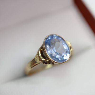 historischer Blautopas / Aquamarin ? Ring in 585 Gold, Gr. 17, = 2,6 g