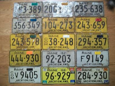 LOT of 15 MAINE LICENSE PLATES - 1952-1962 / 1966-1976