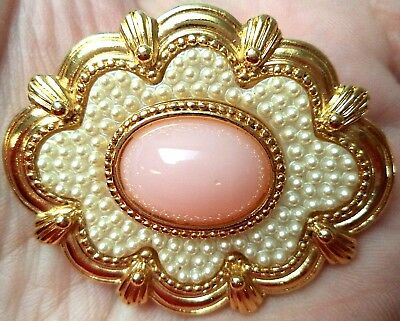 """Stunning Vintage Estate Signed Gold Tone Faux Pearl Pink Cab  2"""" Brooch 1544M"""