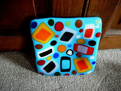 MCM Vintage MID CENTURY HAND CRAFTED FUSED GLASS SQUARE TRAY GEOMETRICS 6x6.5