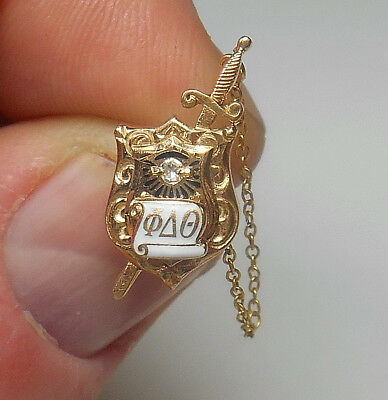 10K SOLID GOLD Antique Sword & Shield Diamond Fraternity Pin RARE FIND