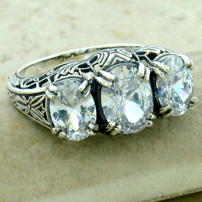 Art Deco 3 Stone 925 Sterling Silver Antique Style Cubic Zirconia Cz Ring, #1164