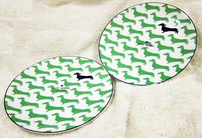 "Kate Spade Wickford Dachshund Accent / Salad Plates Lenox GREEN Set of 2, 9"" NEW"