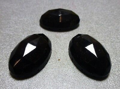 34x22mm jet black faceted 6-hole glass sew-ons, 12 pcs, Vintage LL58