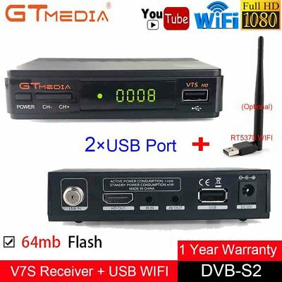 GTmedia V7S FTA Digital Satellite Receiver DVB-S2 HD 1080P Youtube PVR +USB WIFI