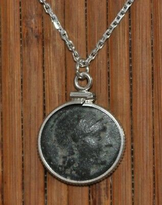 Helmeted Athena & Asklepios Ancient Coin Pendant 925 Sterling Silver Necklace