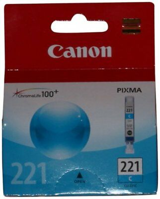 Lot of 2 Canon CLI-221C Cyan Ink Tanks GENUINE NEW