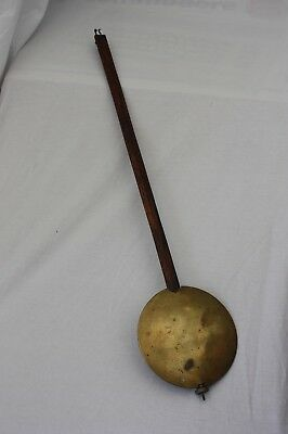 Large Antique Vintage Wood & Brass Clock Pendulum
