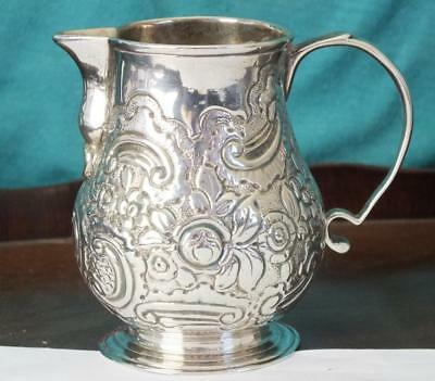 110g Antique Heavy Gauge Solid Silver Jug With Embossed Scroll Design - Hanau ?