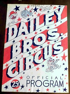 Vintage 1944 Dailey Bros. Circus Official Program Free Usps