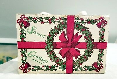 Holly, Red Bells, Wreath themed Wonderful1920s Cardboard Candy Container
