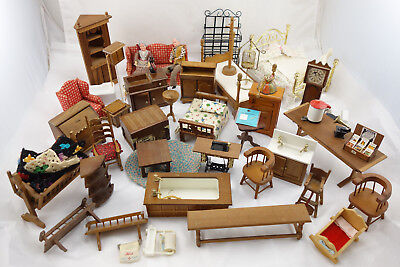Large Vintage Dollhouse Miniature Furniture Lot Living Dining Bathroom Bedroom
