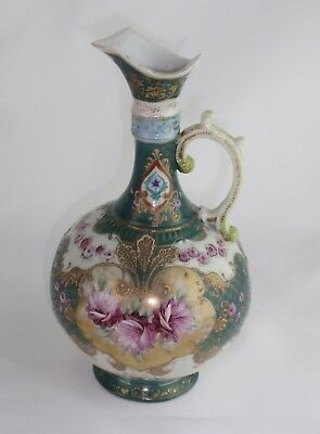 Japanese Antique Hand Painted Peony Floral Ewer Gold Moriage Beading