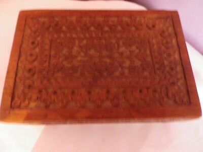 Fab Vintage Indian Carved Wooden Box With Leaves & Flowers 15 By 10 By 6 Cms
