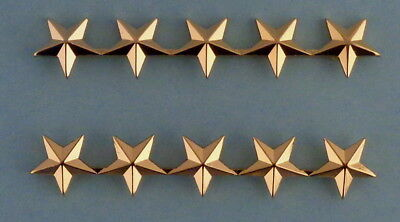 "5 stars 5/8"" POLISHED GOLD Pair epaulet/shoulder Pins Rank Insignia police chief"