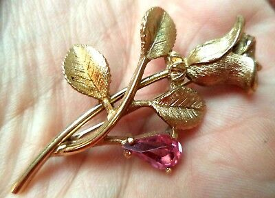 "Stunning Vintage Estate Signed Avon Gold Tone Rose Rhinestone 2"" Brooch 1544L"