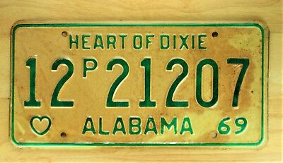 1969 Vintage Alabama Heart Of Dixie License Plate Auto Car Vehicle Tag Item 1205