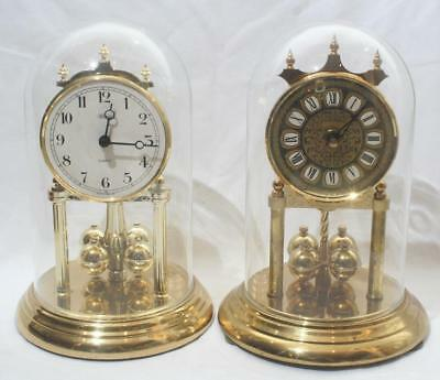 """Vintage West Germany & Hermle Anniversary Clocks with Glass Domes 11"""" Height"""