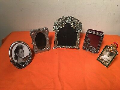 Lot of 5 Vintage Metal Brass Ornate  Picture Photo Frames Oval Pewter rhinestone