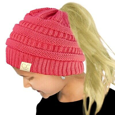 CC Kids Ponytail Messy Bun BeanieTail Soft Winter Knit Stretch Beanie Hat