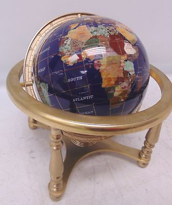 Blue Lapis Semi-Precious Gemstone Infused GLOBE Mounted On Brass Stand - B73