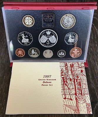 1997 United Kingdom Deluxe Proof 10 Coin Set - In Original Case with COA