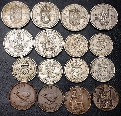 Lot of 16x Great Britain Coins - Date Range: 1912 - 1957 - Various Denominations