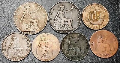 Lot of 7 Great Britain UK Penny & Half Penny Coins - Dates: 1860 to 1945