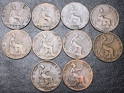 Lot of 10x Great Britain UK Half Penny Coins - Dates: 1861 to 1893