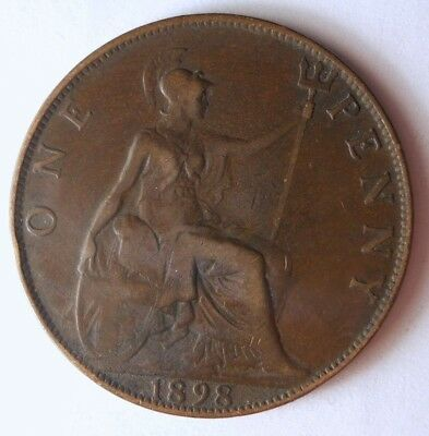 1898 GREAT BRITAIN PENNY - High Quality Coin - FREE SHIP - Britain Bin F
