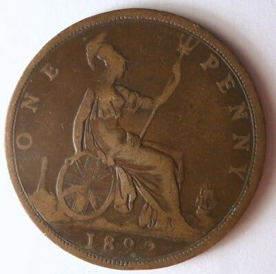 1892 GREAT BRITAIN PENNY - High Quality Coin - FREE SHIP - Britain Bin F